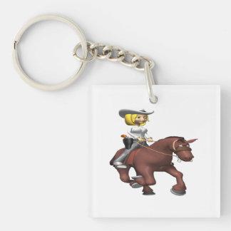 馬の女性のカーボーイ キーホルダー