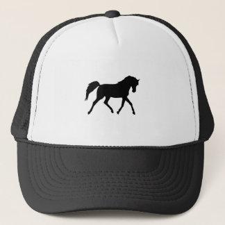 馬の小走りに走る黒いシルエットの帽子、ギフトのアイディア キャップ