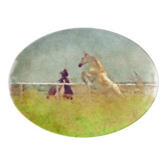 馬の演劇 磁器大皿
