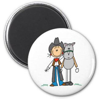 馬の磁石を持つ棒の姿の女性のカーボーイ マグネット