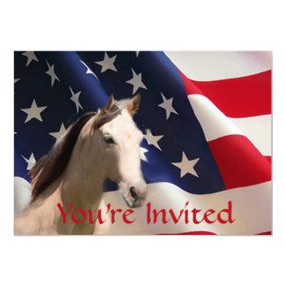 馬の米国旗の招待状 カード
