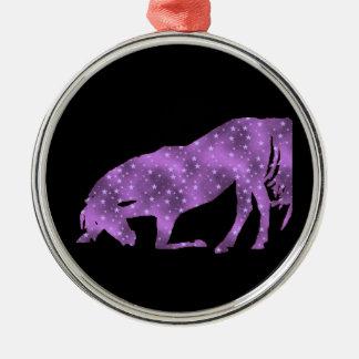 馬の紫色の星のシルエットのオーナメント メタルオーナメント