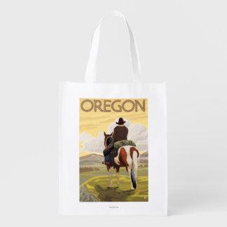 馬の背のヴィンテージ旅行ポスターのカウボーイ エコバッグ