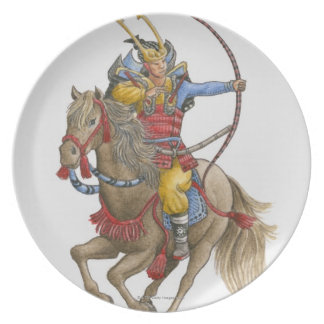 馬の背の保有物の弓の武士のイラストレーション プレート