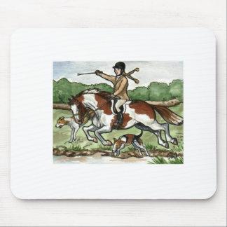 馬の芸術はペンキの子馬の女の子をキツネ狩りします マウスパッド