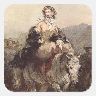 馬の若い女性 スクエアシール