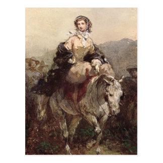 馬の若い女性 ポストカード