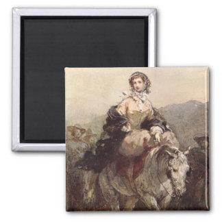 馬の若い女性 マグネット