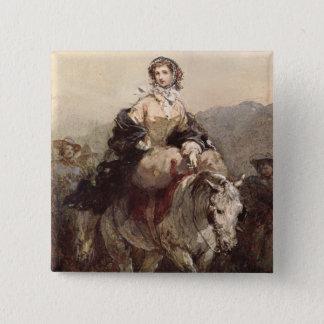 馬の若い女性 5.1CM 正方形バッジ