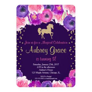 馬の誕生日の招待、ピンクの紫色の金ゴールド カード