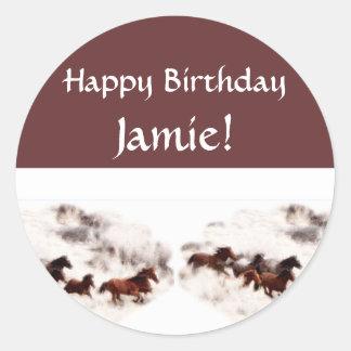 馬の誕生日招待状およびカードをカスタマイズ ラウンドシール