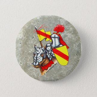 馬の赤く黄色い芸術の騎士 5.7CM 丸型バッジ