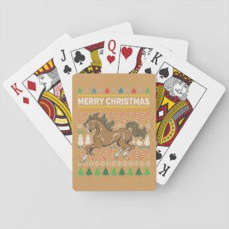 馬の野性生物のメリークリスマスの醜いセーター トランプ