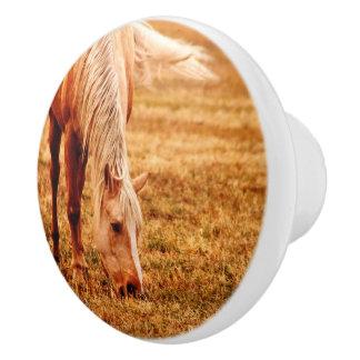 馬の陶磁器の家具のノブを牧草を食べること セラミックノブ