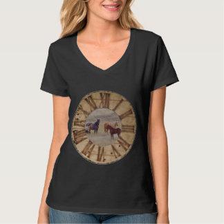 馬のTシャツ、v首、合うトレンディーサイズ Tシャツ