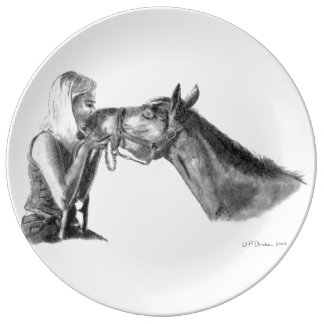 馬はアートワークに接吻します 磁器プレート