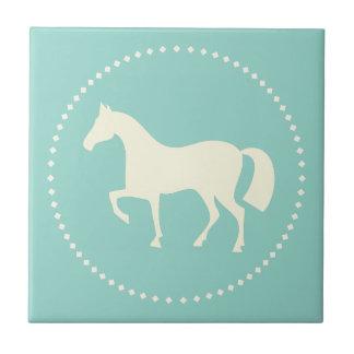 馬または子馬のシルエットのセラミックタイル(ティール(緑がかった色)) タイル