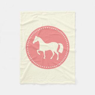 馬または子馬のシルエットのフリースブランケット(クリームかピンク) フリースブランケット