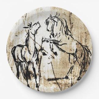 馬を育てるウマ科のな芸術 ペーパープレート