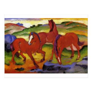 馬をIV (赤い馬)フランツ・マルク著牧草を食べます ポストカード