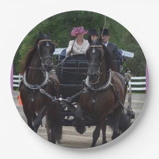 馬ショーを運転するクルミの丘キャリッジ ペーパープレート