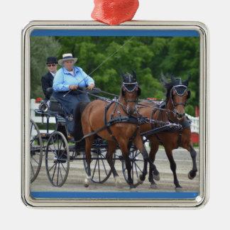 馬ショーを運転するクルミの丘キャリッジ メタルオーナメント