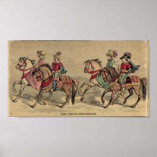 馬上のサーカスの行列のライダー ポスター