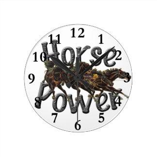 馬力の柱時計 ラウンド壁時計