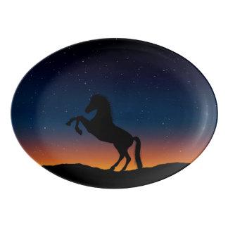 馬動物自然 磁器大皿