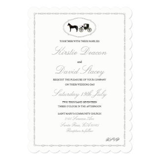馬及びキャリッジを持つ結婚式招待状 カード