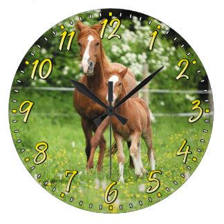 馬及び子馬の柱時計 ラージ壁時計