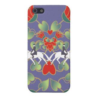 馬場馬術のハートおよび花 iPhone 5 ケース