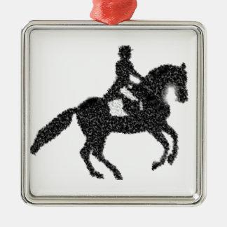 馬場馬術の馬およびライダーのモザイクデザイン メタルオーナメント