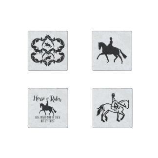 馬場馬術の馬およびライダーの磁石 ストーンマグネット