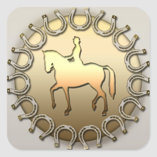 馬場馬術の馬のライダーおよび蹄鉄 スクエアシール