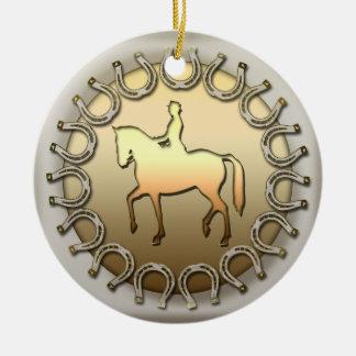 馬場馬術の馬のライダーおよび蹄鉄 セラミックオーナメント