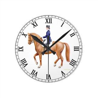 馬場馬術の馬の乗馬の柱時計 ラウンド壁時計
