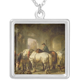 馬小屋 シルバープレートネックレス