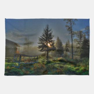 馬牧場日の出の自然の写真 キッチンタオル