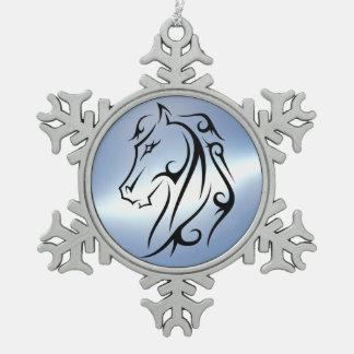 馬頭部のデザインのMoonstoneのプリントのオーナメント スノーフレークピューターオーナメント