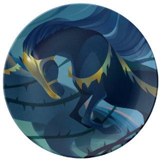 馬-とげの装飾的な磁器皿 磁器プレート