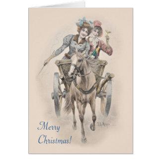 馬、カートおよび女の子のクリスマス カード