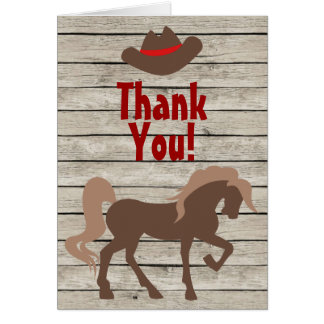 馬、カーボーイ・ハット、納屋の木製の西部は感謝していしています カード