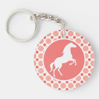 馬; ピンク及び珊瑚の水玉模様 キーホルダー