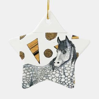 馬: 揺らめく銀は、渦巻く形まだらになります セラミックオーナメント