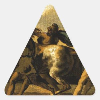 馬、競争のための勉強をストップ奴隷 三角形シール