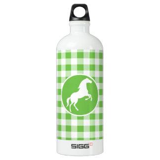 馬; 緑のギンガム ウォーターボトル