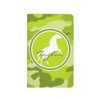 馬;  緑の迷彩柄、カムフラージュ ポケットジャーナル