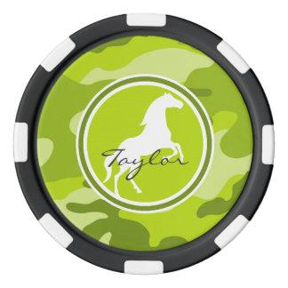 馬;  緑の迷彩柄、カムフラージュ ポーカーチップ