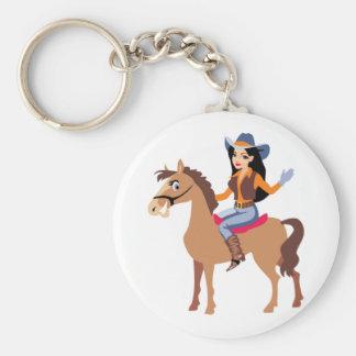 馬Keychainに乗っている女性のカーボーイ キーホルダー